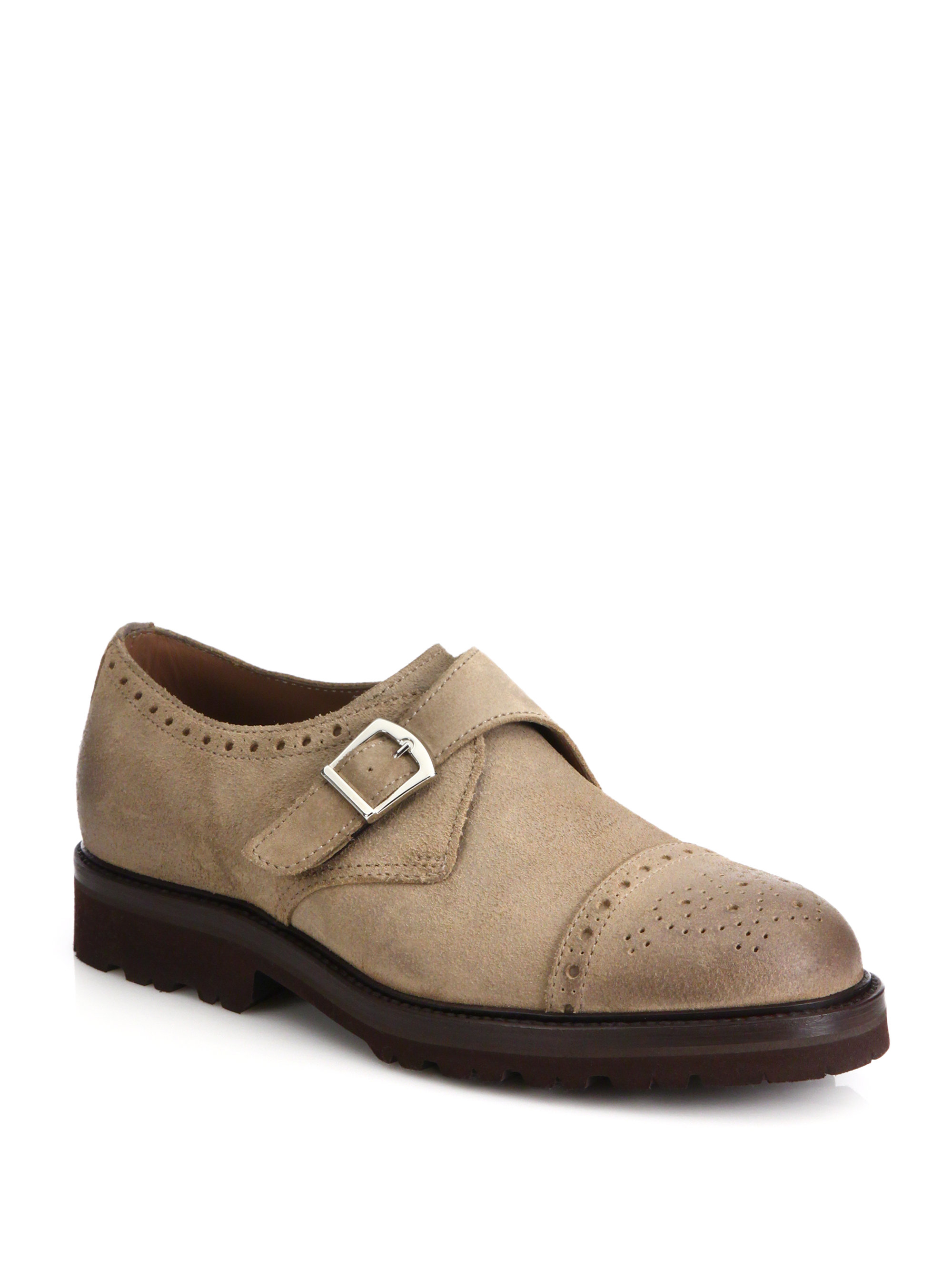 Brunello cucinelli Suede Monk-strap Shoes in Brown for Men ...