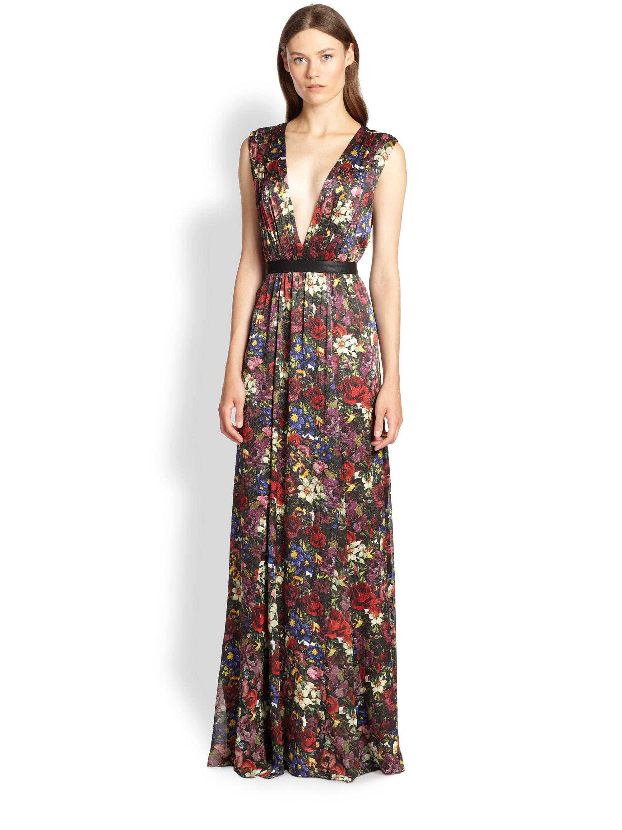 3823b173a48 Alice + Olivia Triss Leather-Trim Maxi Dress - Lyst