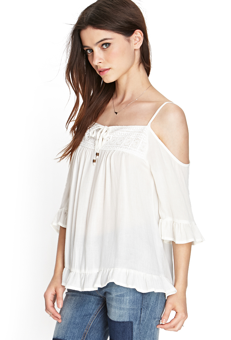 Lyst Forever 21 Open Shoulder Peasant Top In White