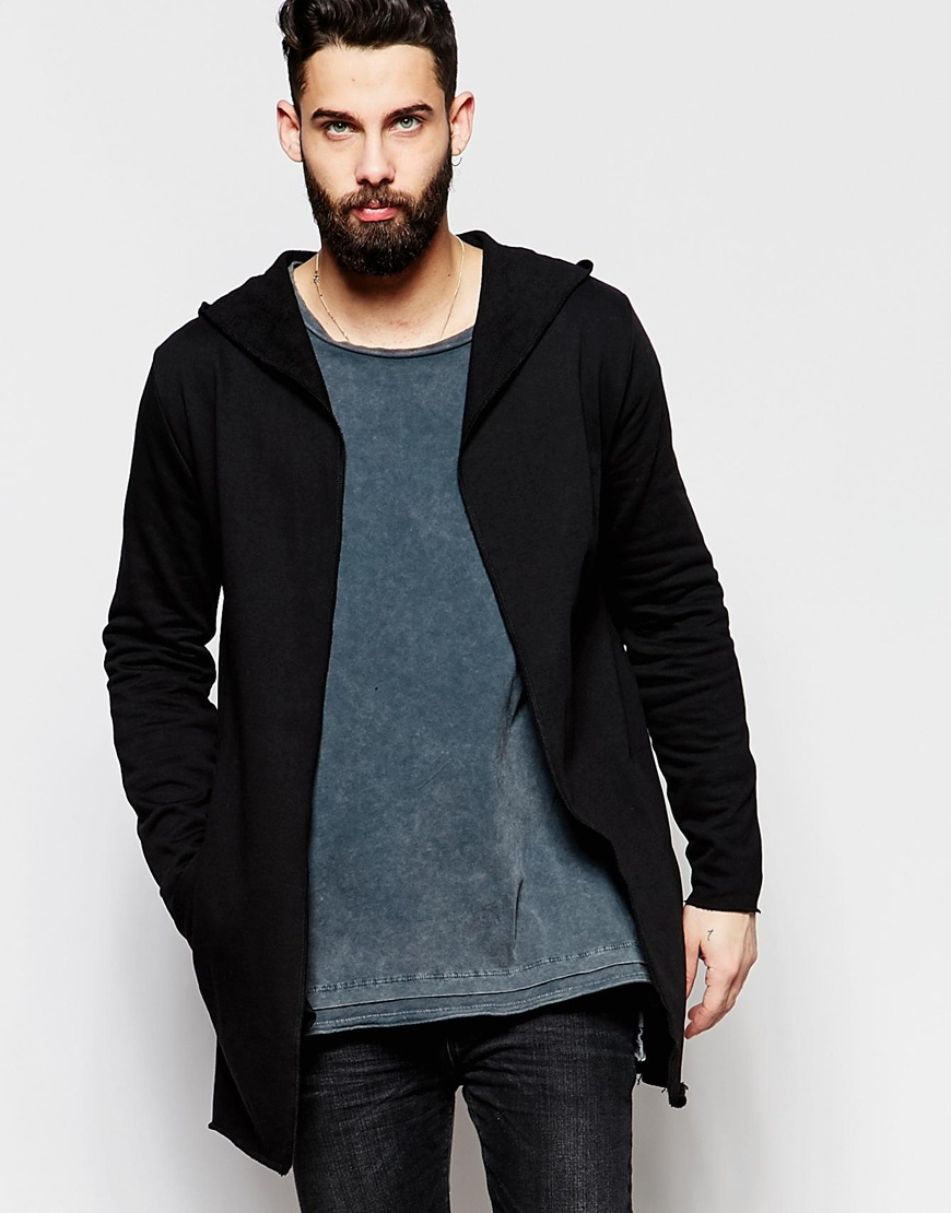 Asos Super Longline Hooded Jersey Cardigan In Black in Black for ...