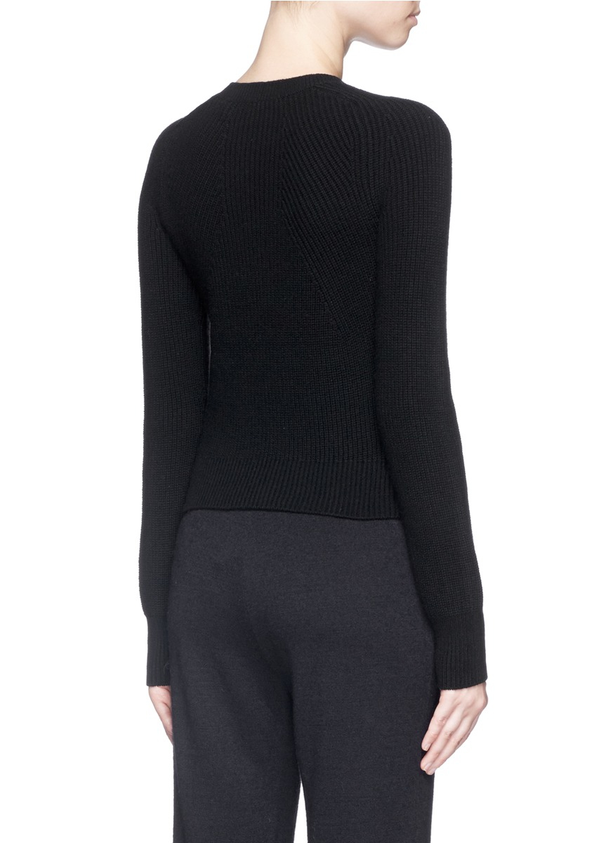 Helmut lang Cashmere-wool Cropped Sweater in Black | Lyst