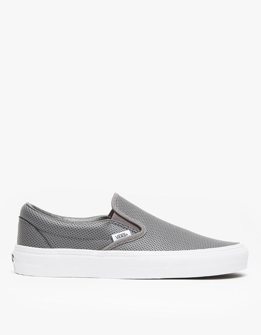 05d70522f41bc Vans Classic Slip-on Perf Leather in Gray - Lyst