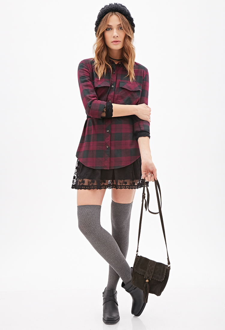 Lyst Forever 21 Plaid Flannel Shirt In Purple