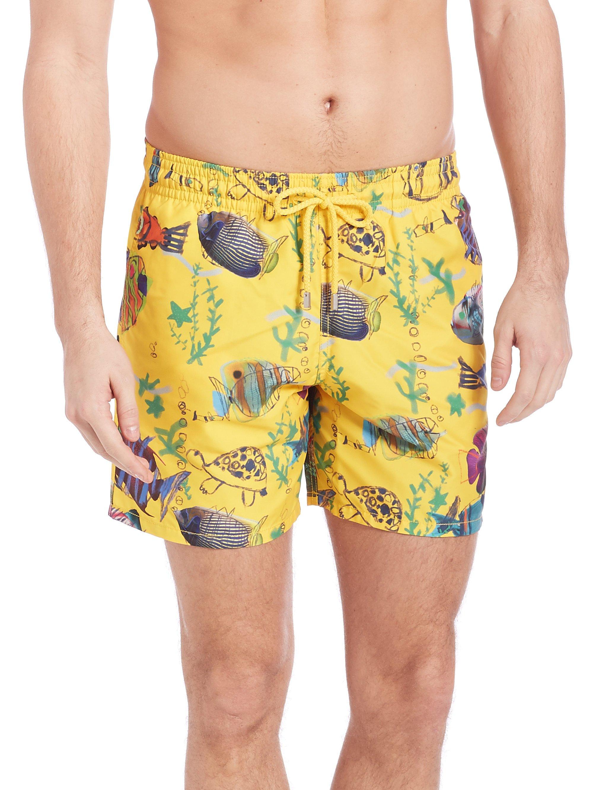 2874e7524a Vilebrequin Moorea Moon Fish Swim Trunks in Yellow for Men - Lyst