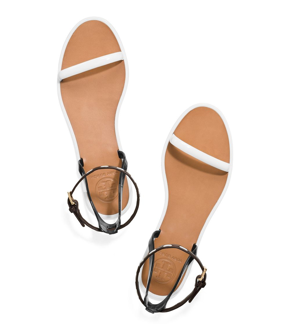 Lyst Tory Burch Leather Ankle Strap Flat Jelly Sandal In
