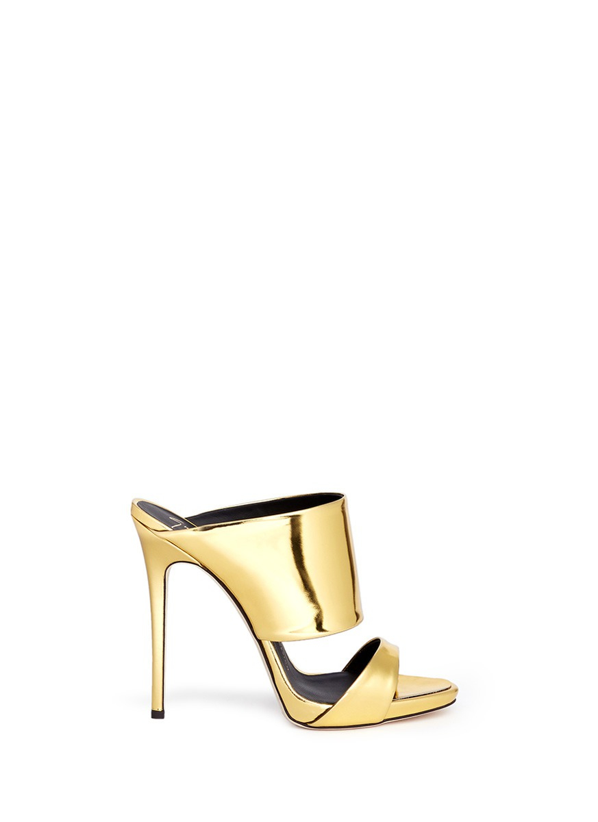 347fb8997 ... low cost lyst giuseppe zanotti coline mirror leather mule sandals in  metallic 97685 ae0ec