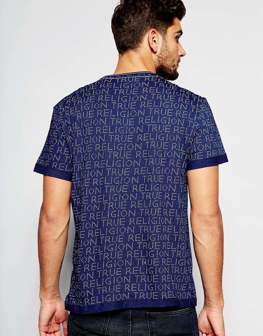 lyst true religion logo t shirt in blue for men. Black Bedroom Furniture Sets. Home Design Ideas
