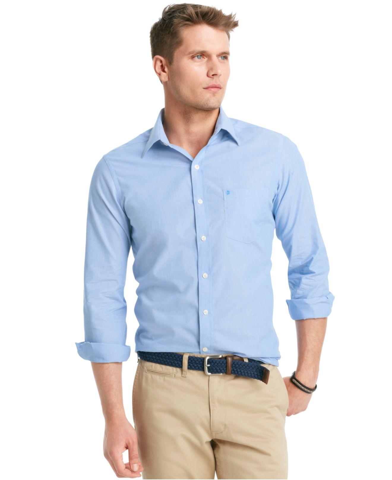 Lyst Izod Shirt Slim Fit Essential Striped Shirt In Blue For Men