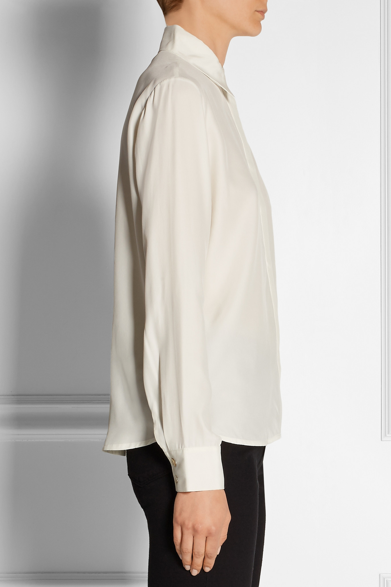 b017af2500be1a FRAME Le Classic Washed Silk-charmeuse Shirt in White - Lyst