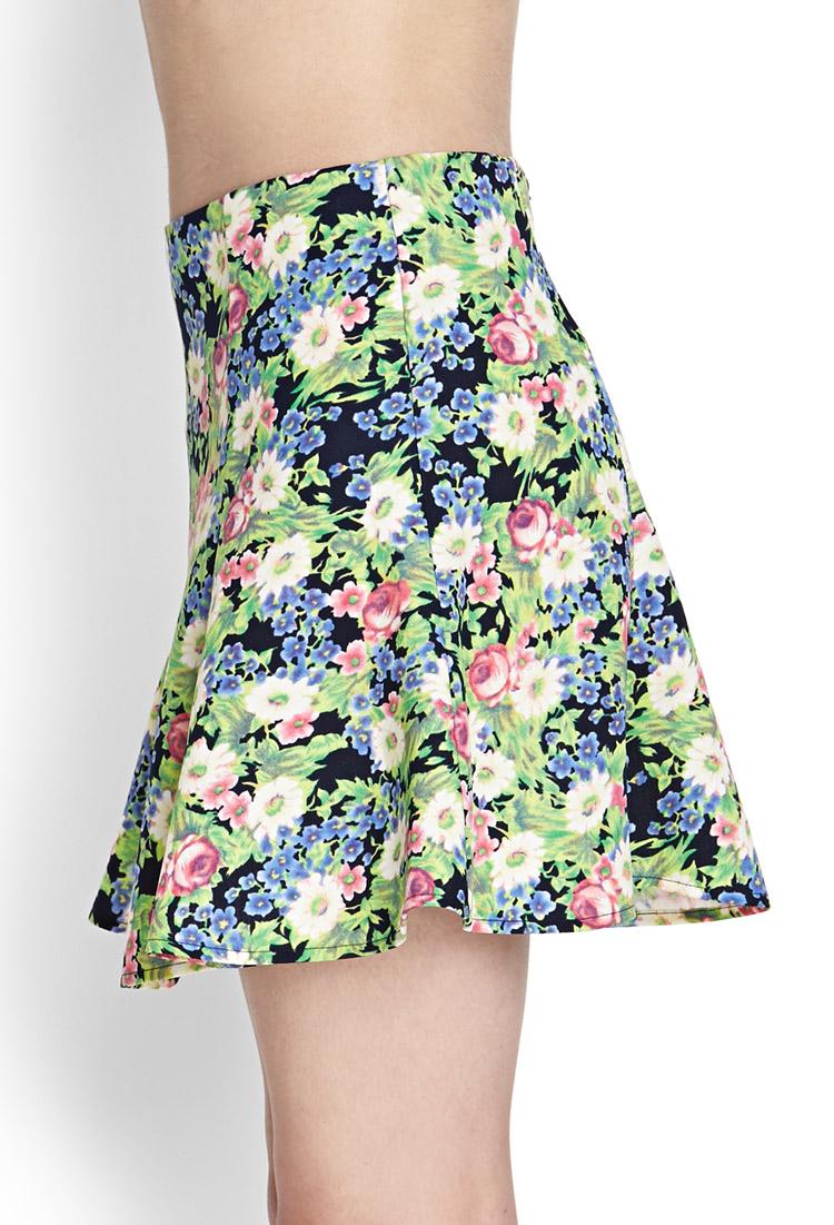 forever 21 woven floral skater skirt in blue lyst