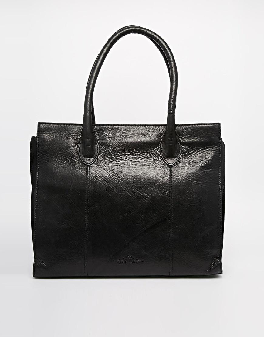 Urban code black leather tote bag