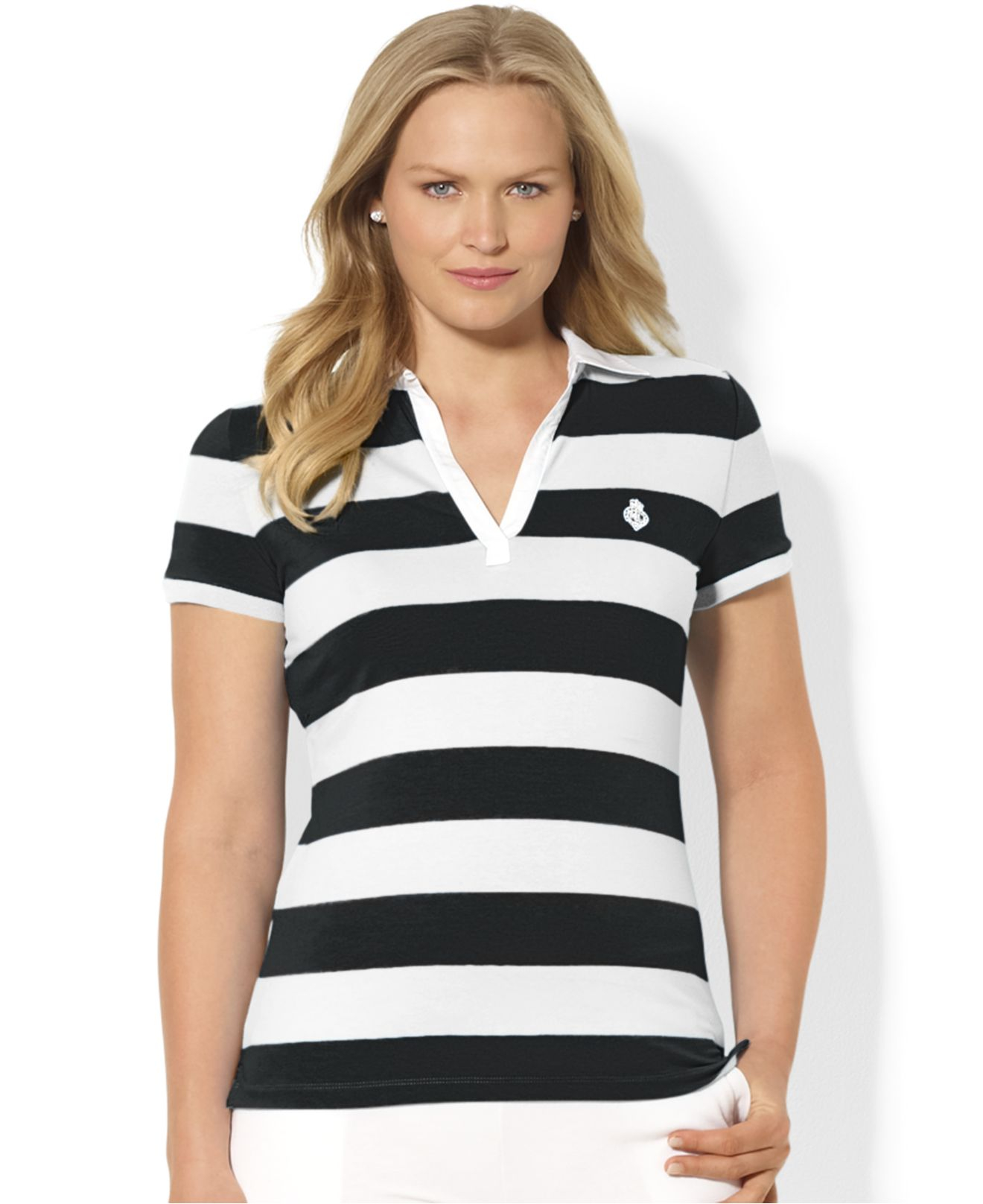 4b7179dcfb1ef ... sale lyst lauren by ralph lauren plus size striped polo shirt in black  cc0a7 32268