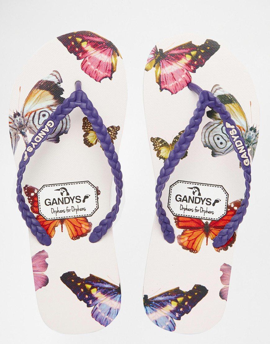 7eb962a36e3 Lyst Gandys Broken Butterfly Purple Strap Flip Flops