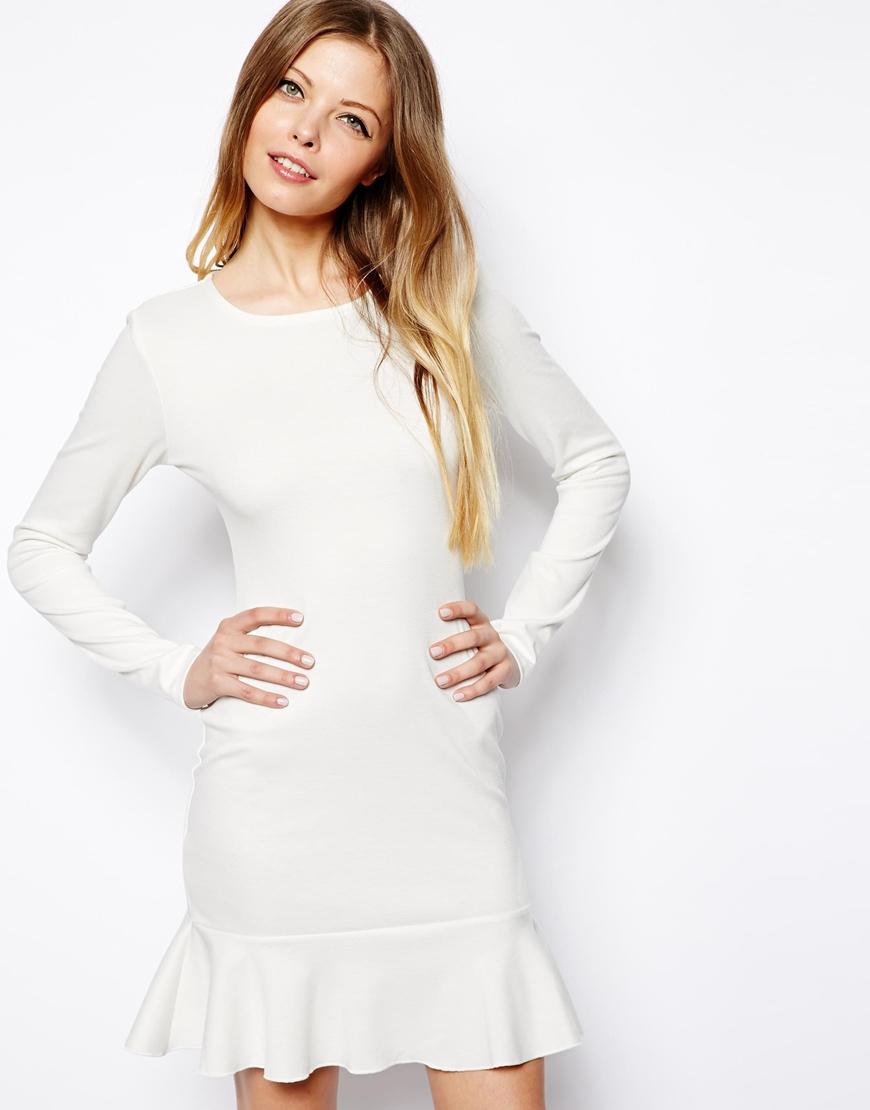 Asos Long Sleeve Peplum Hem Mini Dress in White | Lyst