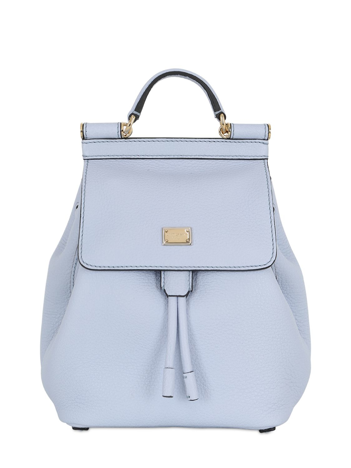 dolce gabbana sicily grained leather mini backpack in