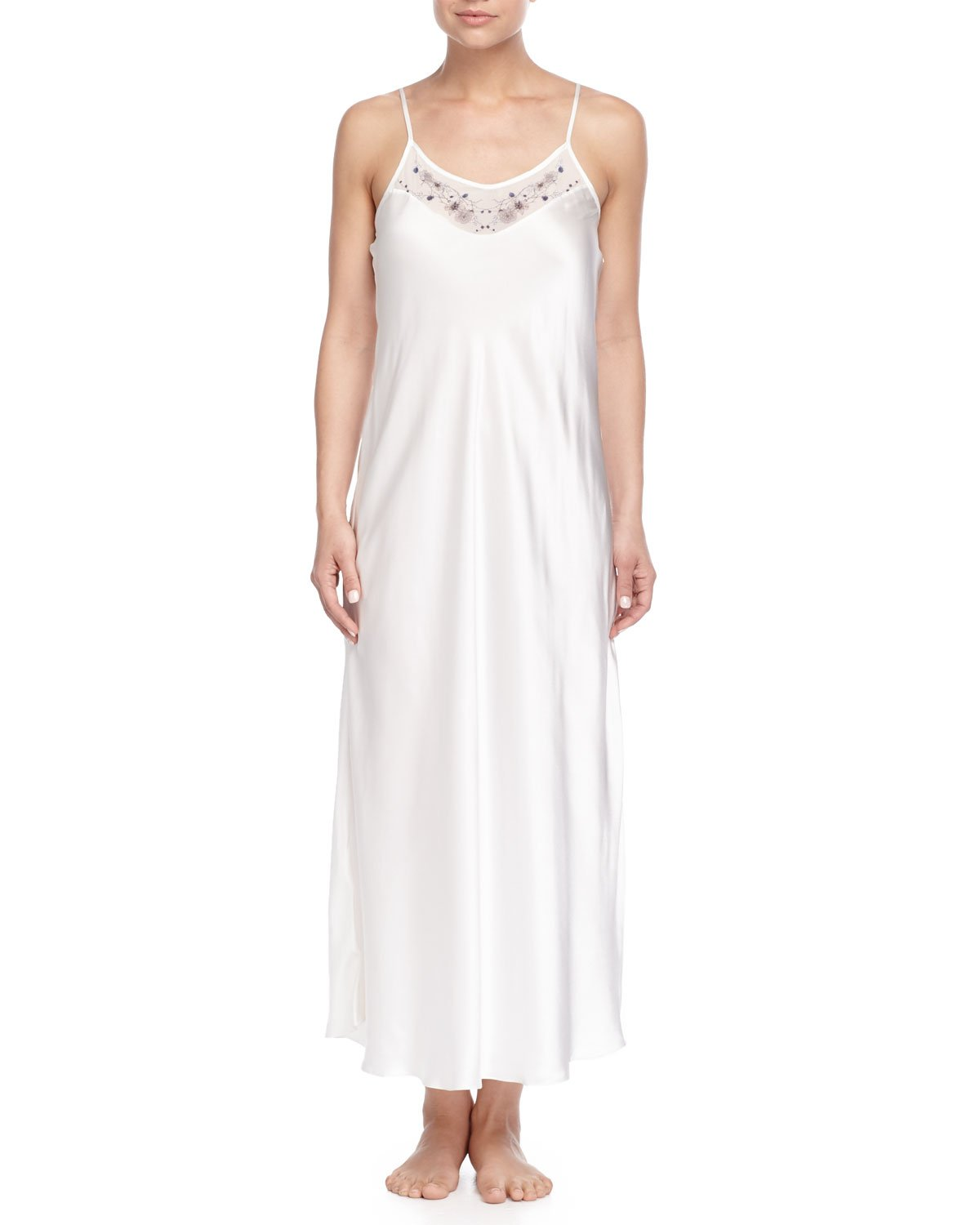 Lyst - Meng Satin Slip Nightgown in White af979cc2e