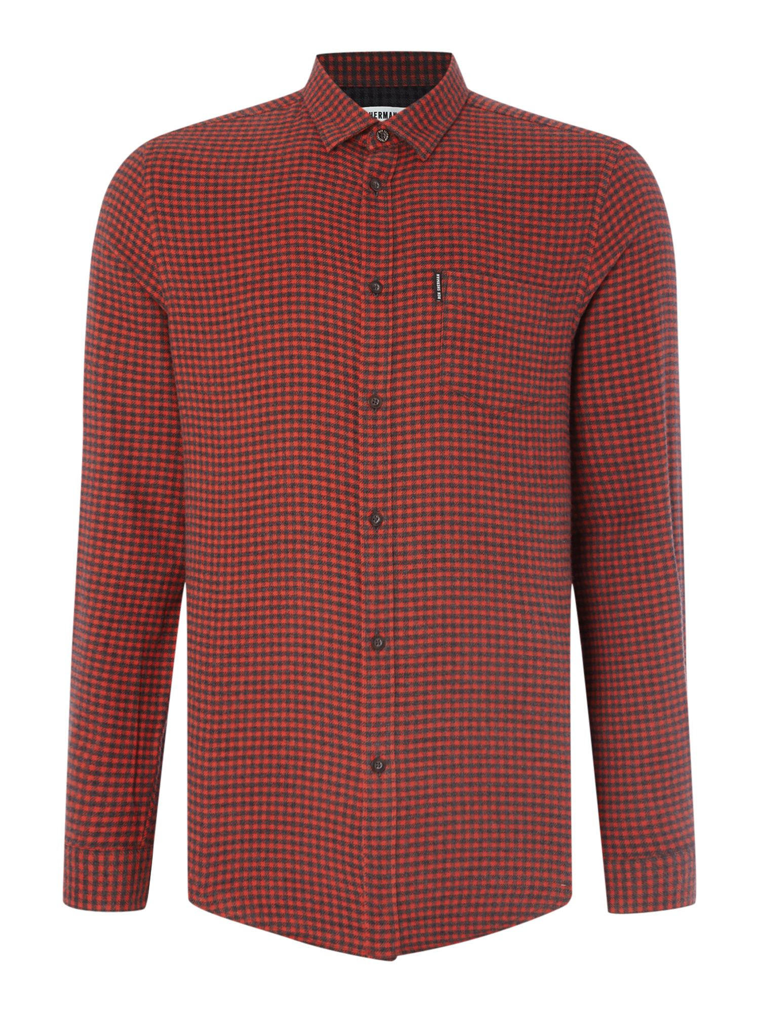 Ben sherman brushed gingham twill long sleeve shirt in for Brushed cotton twill shirt