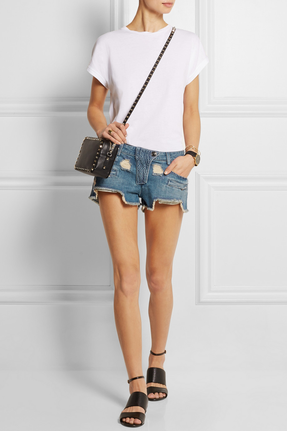 Balmain Distressed Low-Rise Denim Shorts in Blue | Lyst