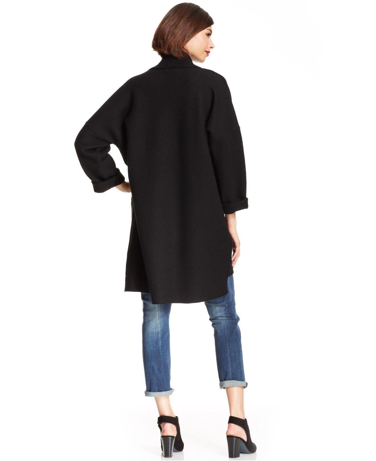 Eileen fisher Merino-Wool Kimono Cardigan in Black | Lyst