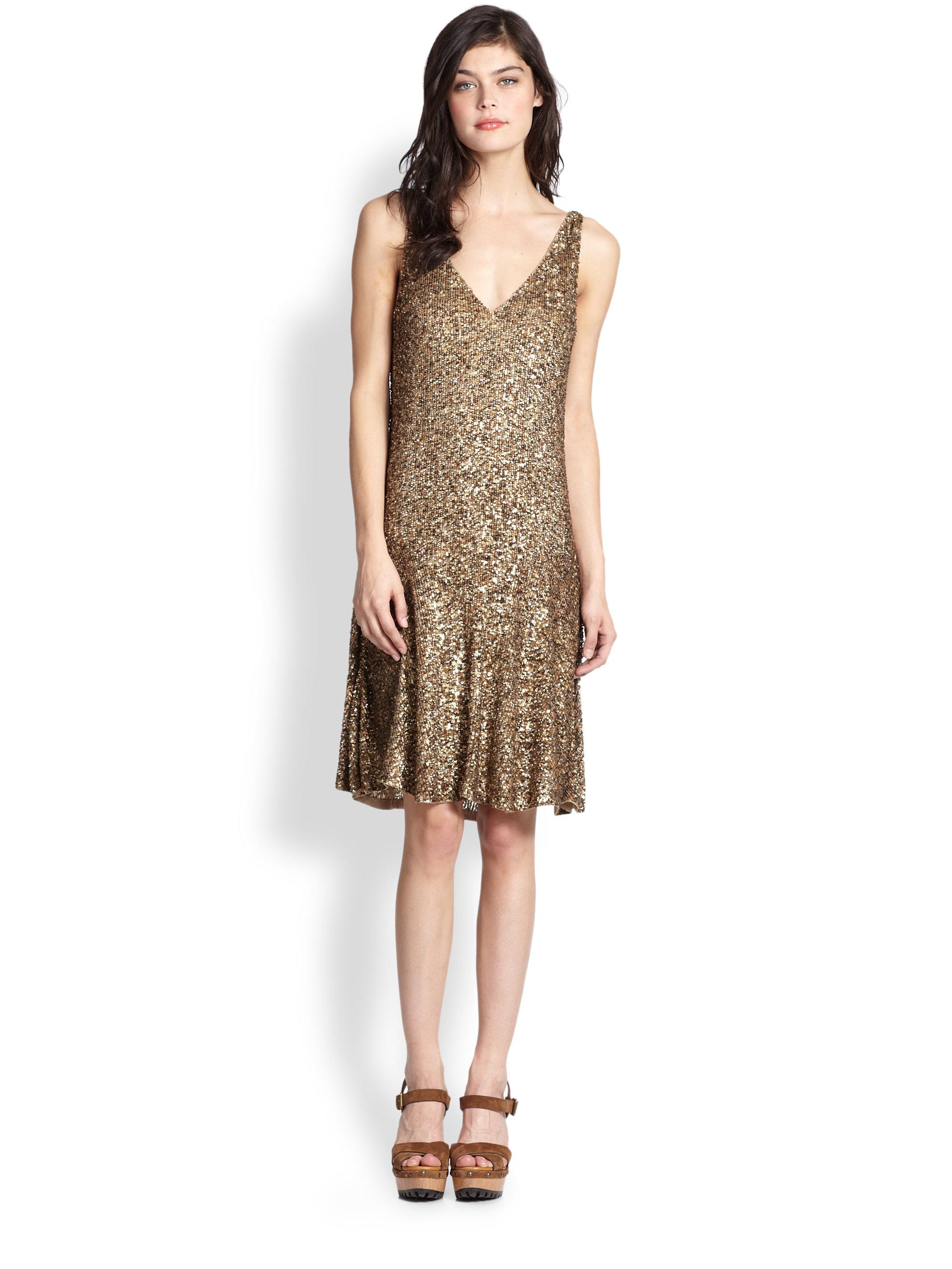 Lyst - Polo Ralph Lauren Sequined Dress in Metallic