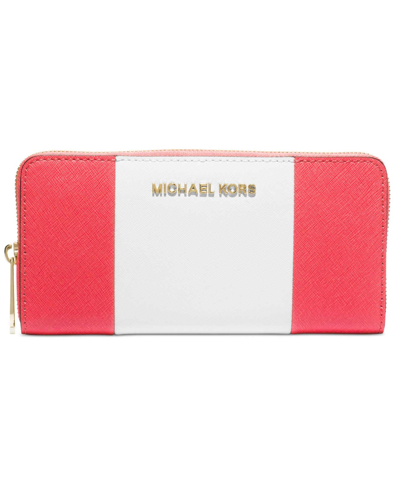 aa723b12cf483d ... coupon for lyst michael kors michael jet set travel center stripe zip  around ec918 13820