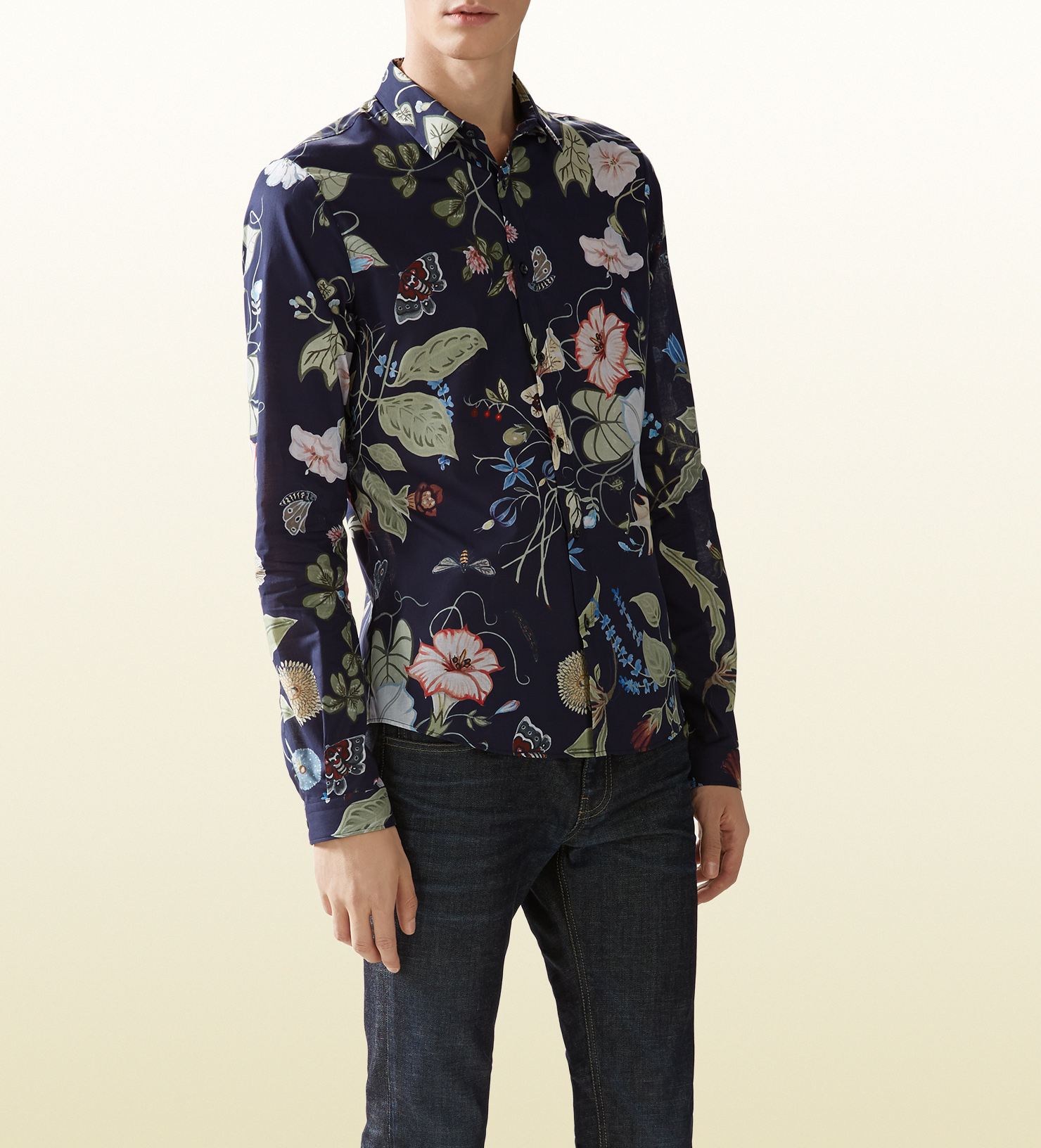 7416455ba8fd Gucci Flora Knight Print Duke Shirt in Blue for Men - Lyst