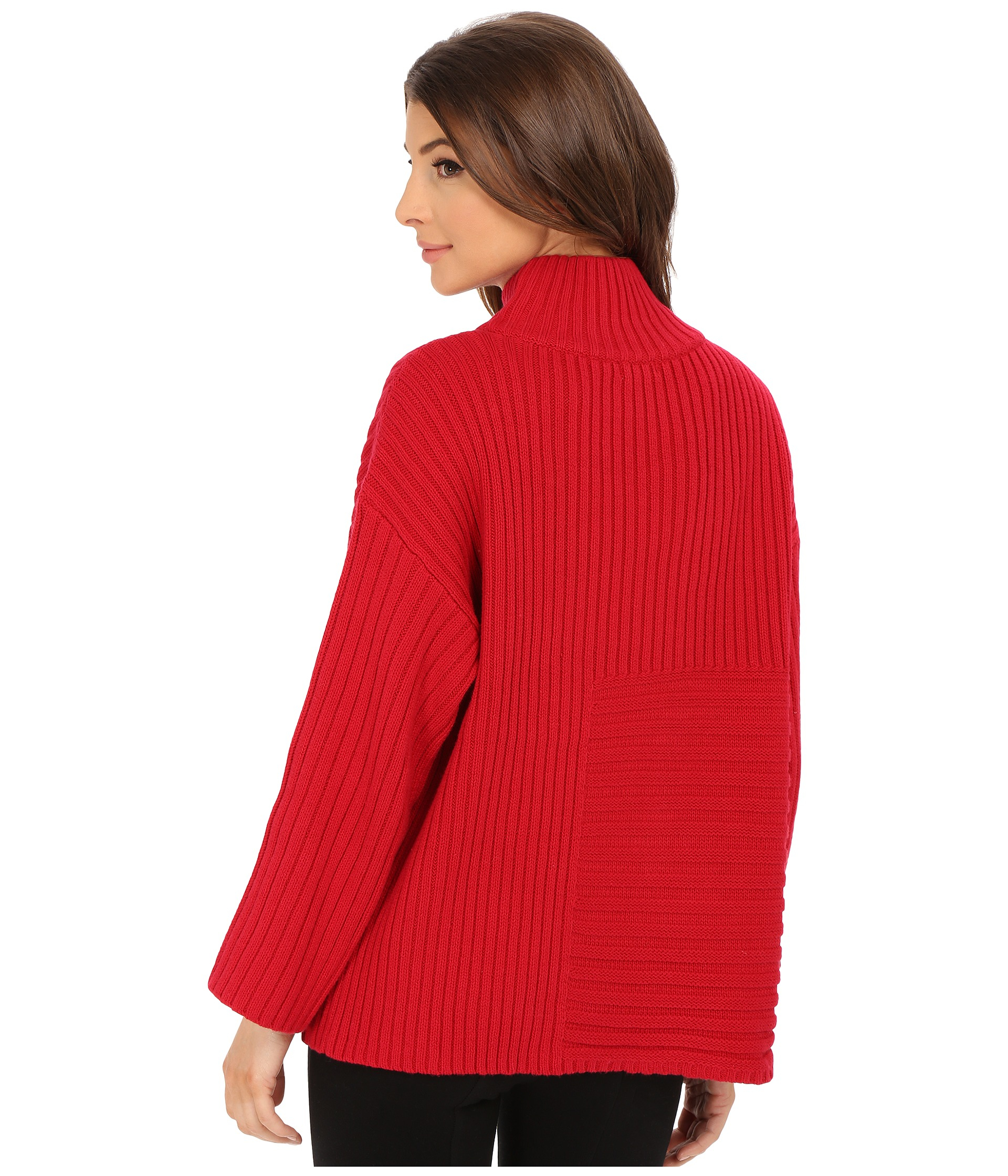 586fa7892b1 Lyst - Vince Camuto Elbow Sleeve Mix Rib Turtleneck Sweater in Red