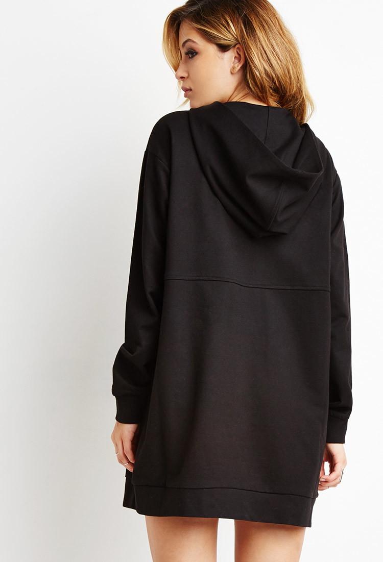 Forever 21 Hooded Zip Dress In Black Lyst