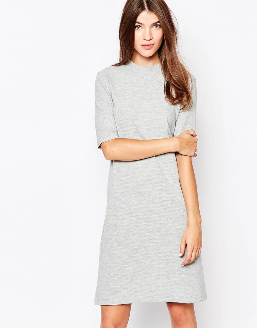 365a531850d Lyst - Vila High Neck Oversized T-shirt Dress in Gray