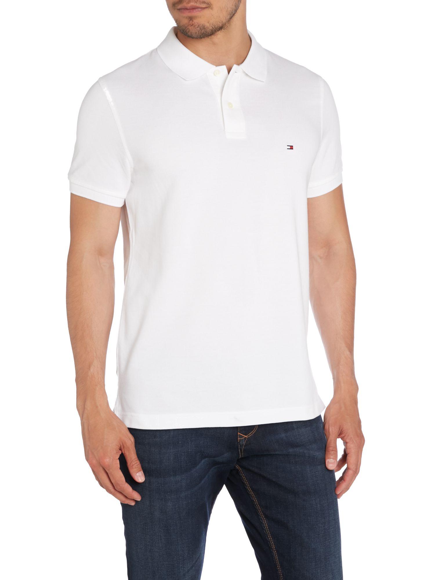 tommy hilfiger slim fit short sleeve polo shirt in white. Black Bedroom Furniture Sets. Home Design Ideas