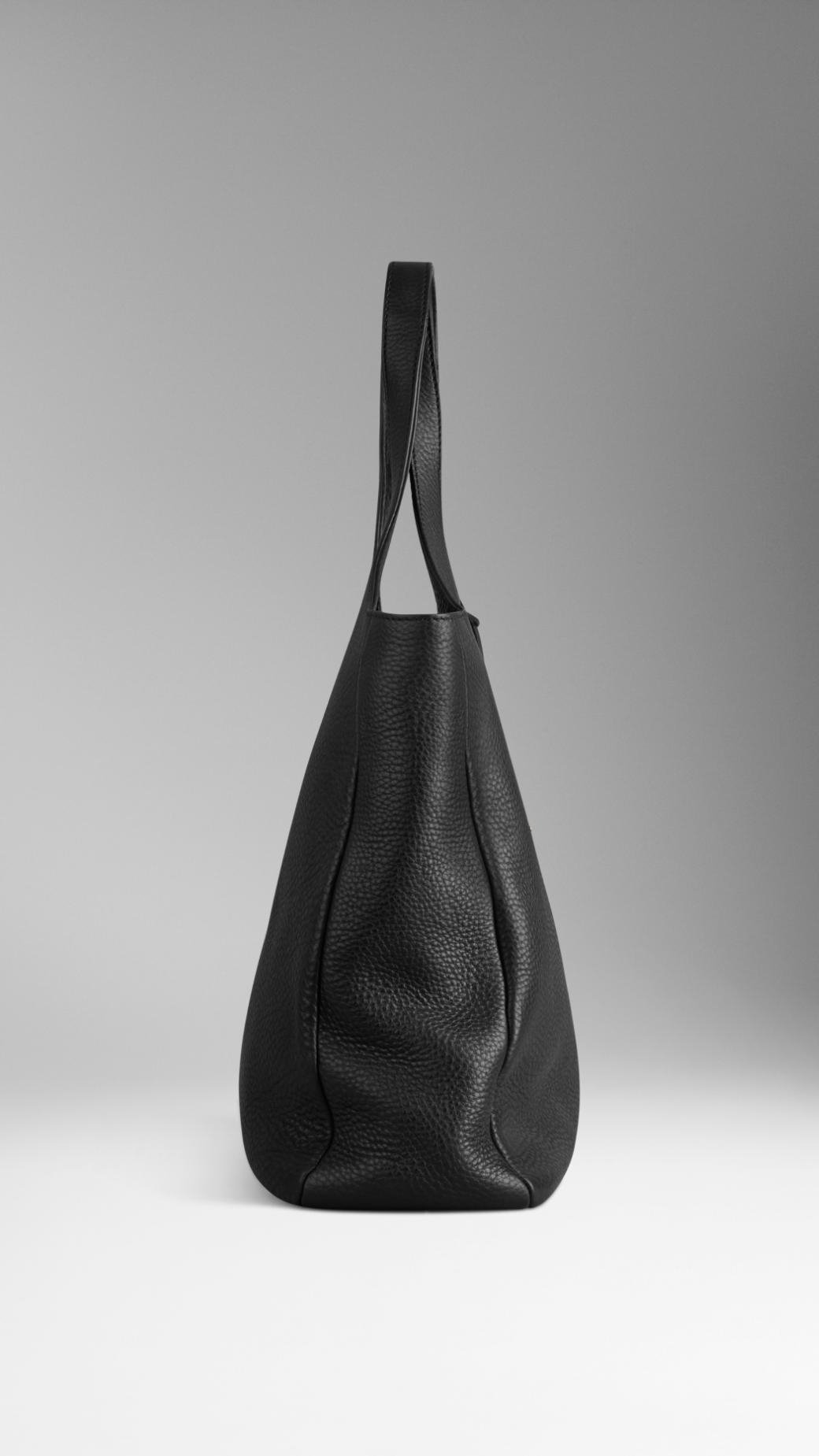 Lyst - Burberry Grainy Leather Shopper in Black e3faf4bd0913a