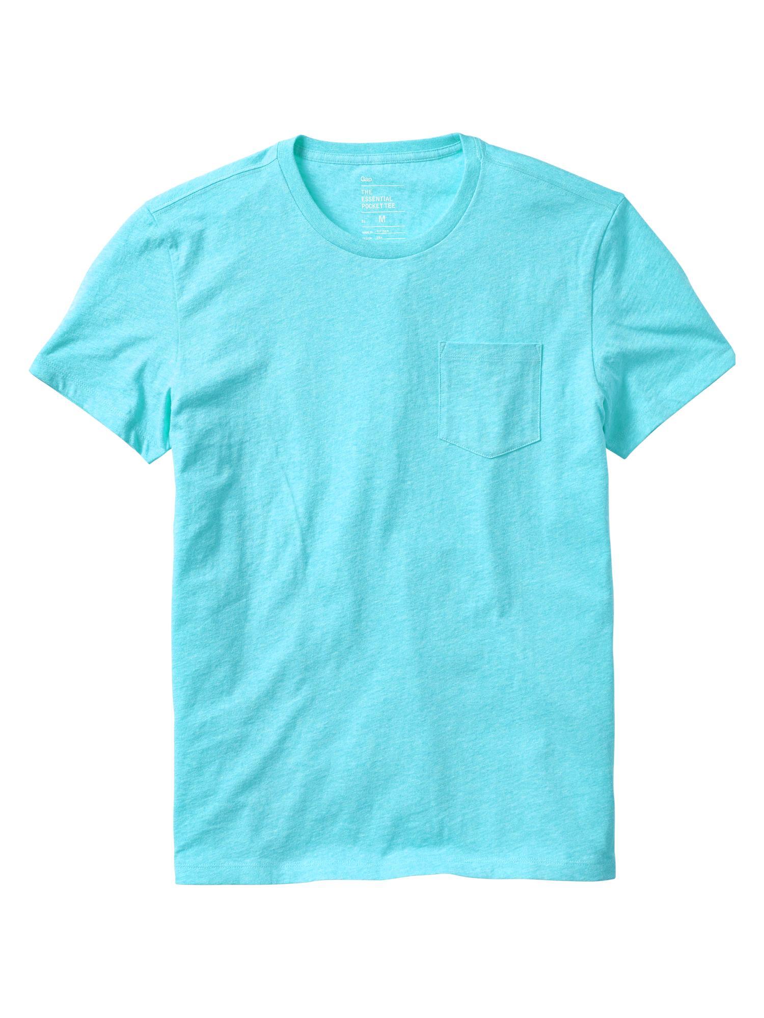 Gap essential pocket t shirt in blue for men aqua heather for Aqua blue mens dress shirt