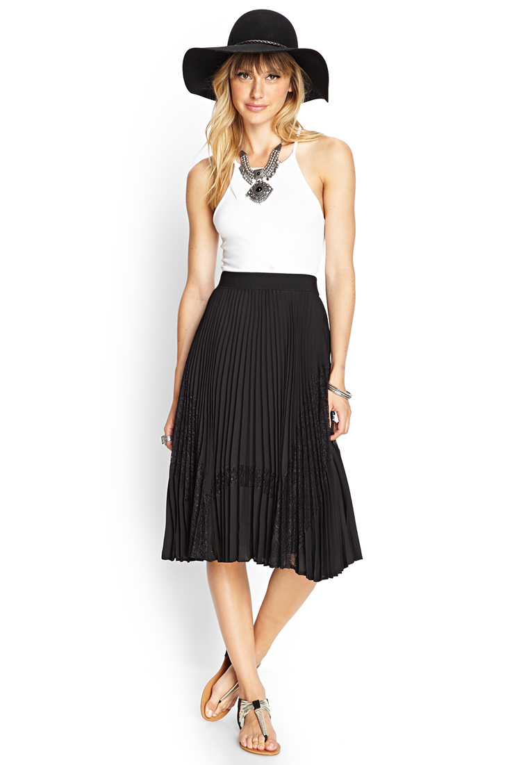 c0c80bfe2e Forever 21 Contemporary Accordion Lace Paneled Midi Skirt in Black ...