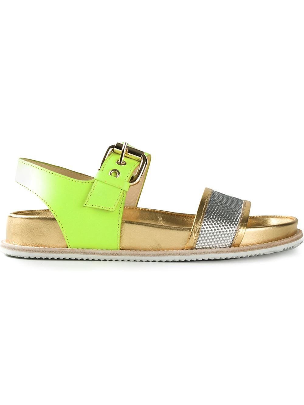 Pollini 'Neon Birk' Sandals in Yellow (yellow & orange)