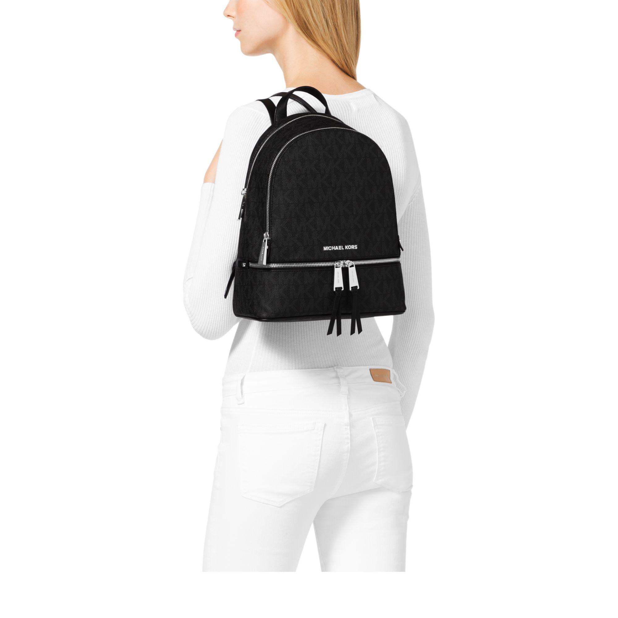3582c83fb09d Michael Kors Rhea Medium Logo Backpack in Black - Lyst