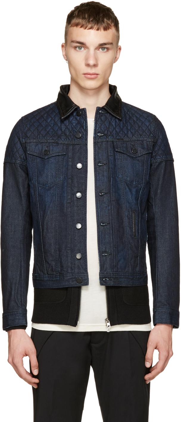 Diesel Navy Quilted Denim Jacket in Blue for Men | Lyst