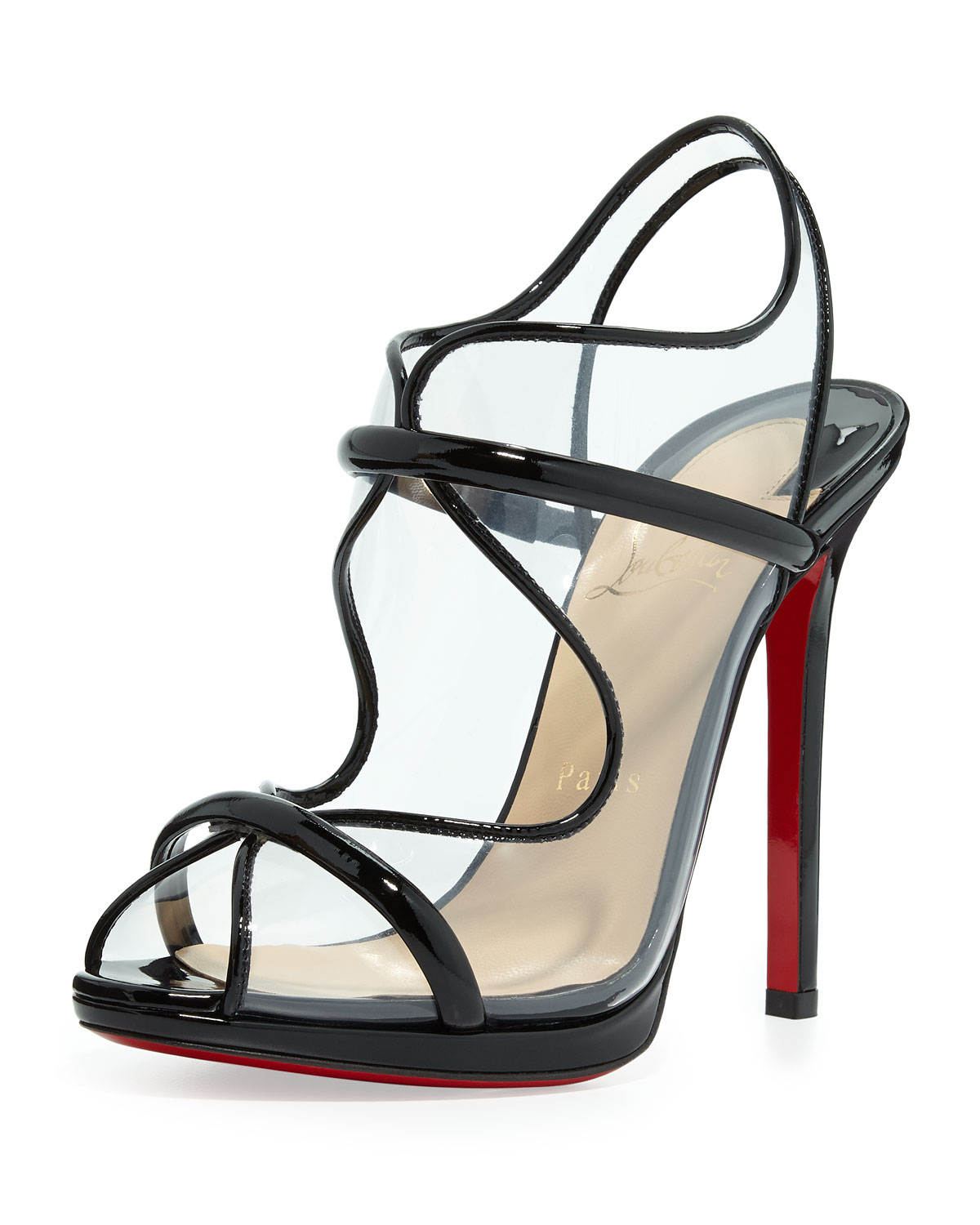 Artesur ? christian louboutin sandals Transparent PVC black patent ...