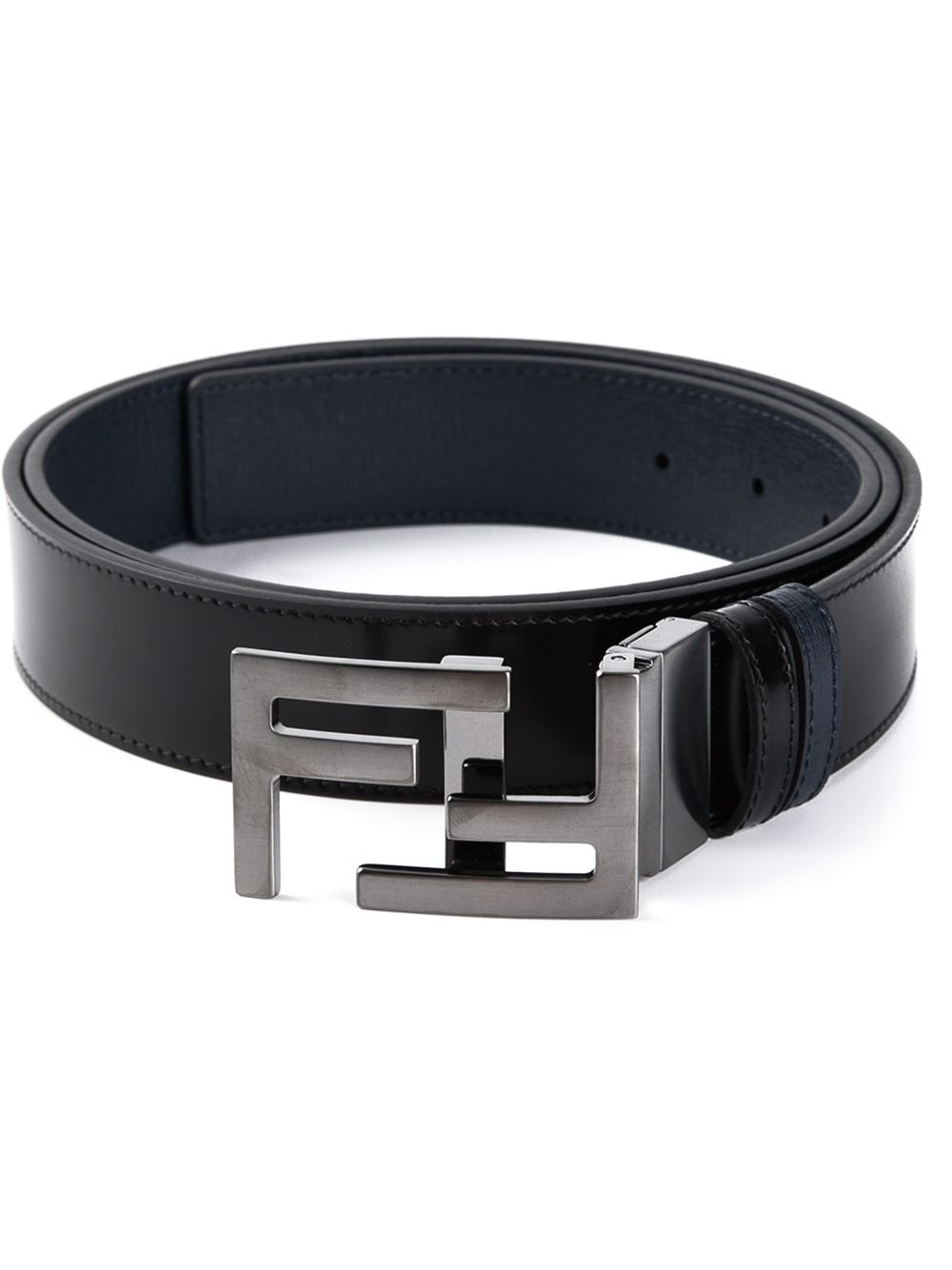 lyst fendi logo buckle leather belt in black for men