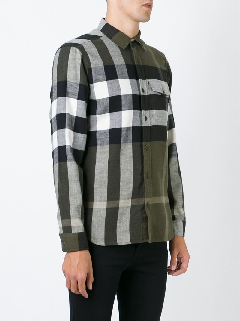 Burberry brit checked shirt in green for men lyst for Burberry brit checked shirt
