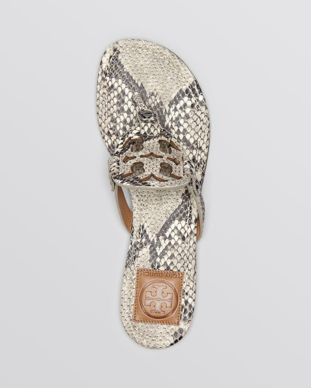 c6388ca5c Lyst - Tory Burch Flat Sandals Miller Roccia Snake Print in Natural
