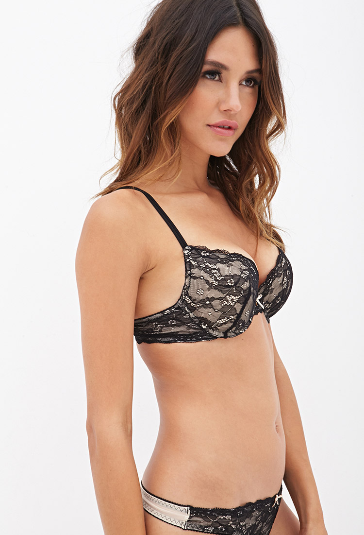 cb417dc9c5 Lyst - Forever 21 Floral Lace Push-up Bra in Black