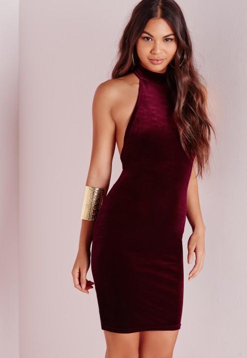 3497dbafdc73 Missguided Velvet Halterneck Bodycon Dress Burgundy in Purple - Lyst