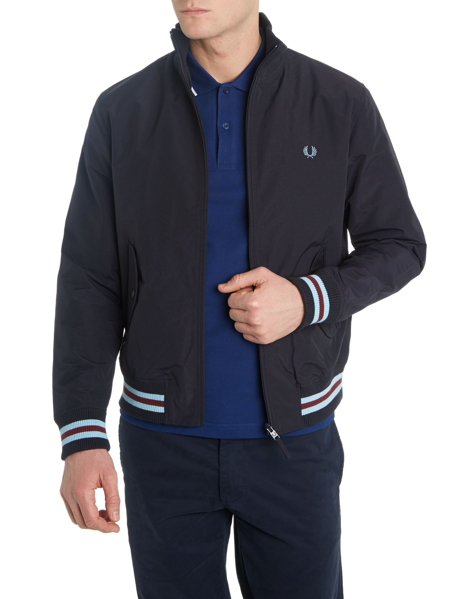 fred perry tipped nylon bomber jacket in blue for men lyst. Black Bedroom Furniture Sets. Home Design Ideas