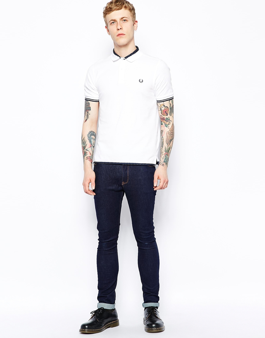 2803c5012 Fred Perry Polo With Polka Dot Trim In Slim Fit in White for Men - Lyst
