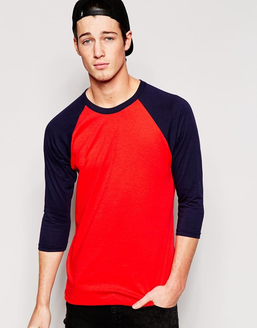 American apparel 3/4 Sleeve Raglan T-shirt in Blue for Men ...