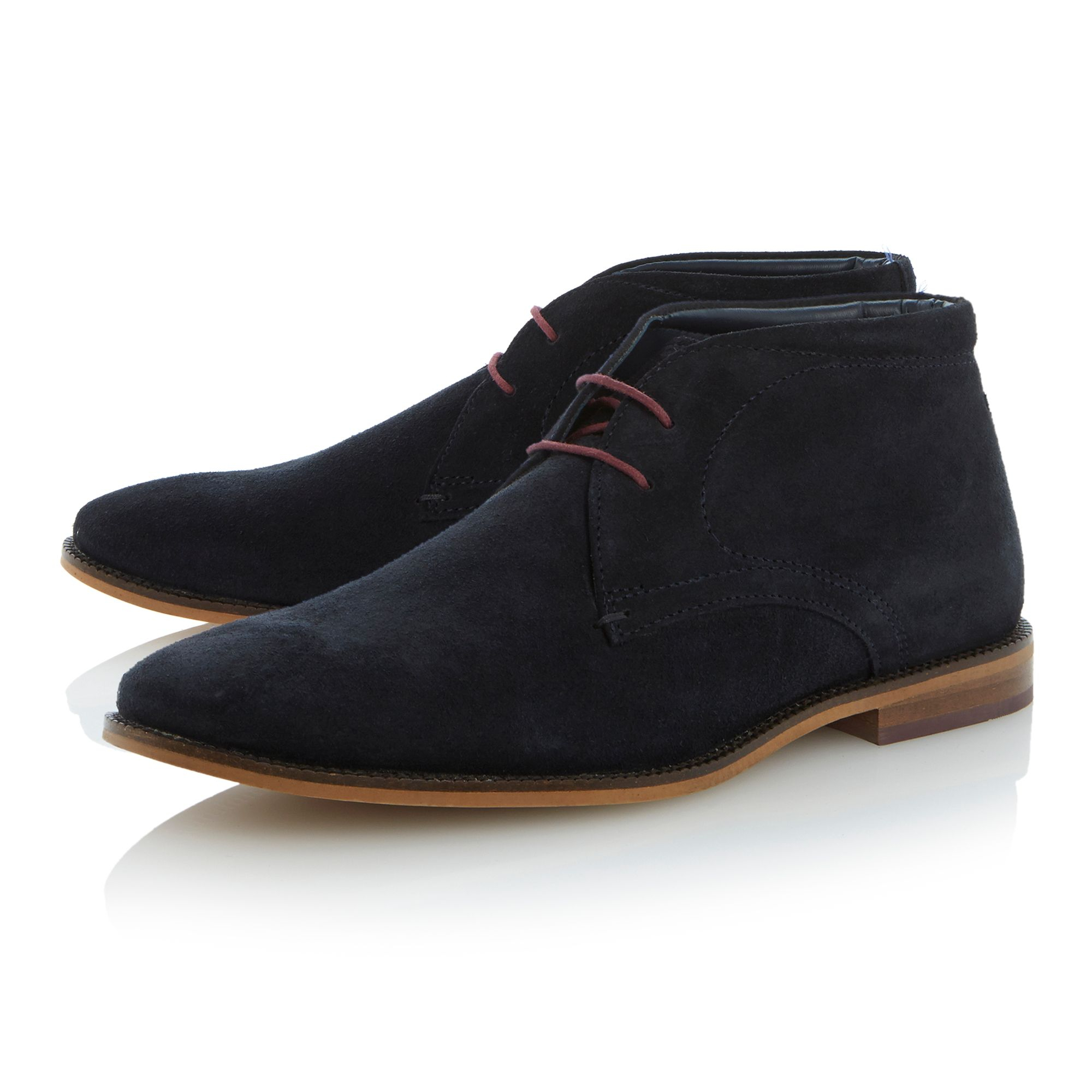 linea clark lace up smart suede desert boots in blue for