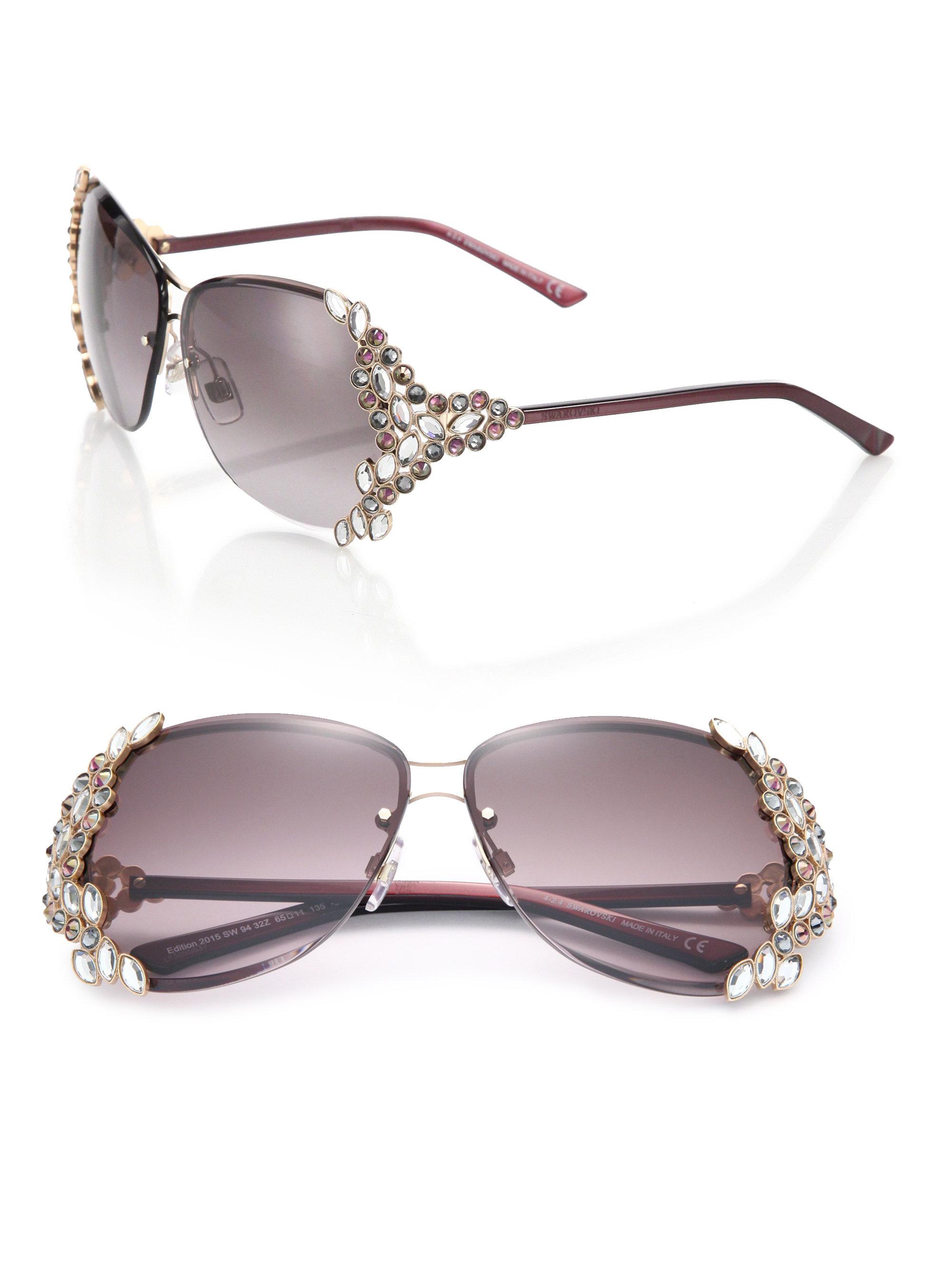 95da2b4aec83 Lyst - Swarovski Special Edition 65mm Crystal Sunglasses in Black