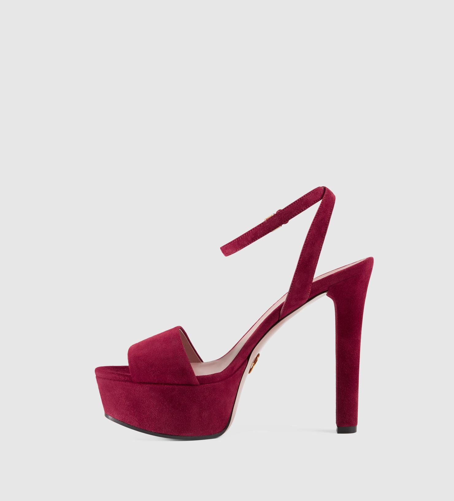 24b2dccd3b8 Lyst - Gucci Leila Suede Platform Sandal in Purple