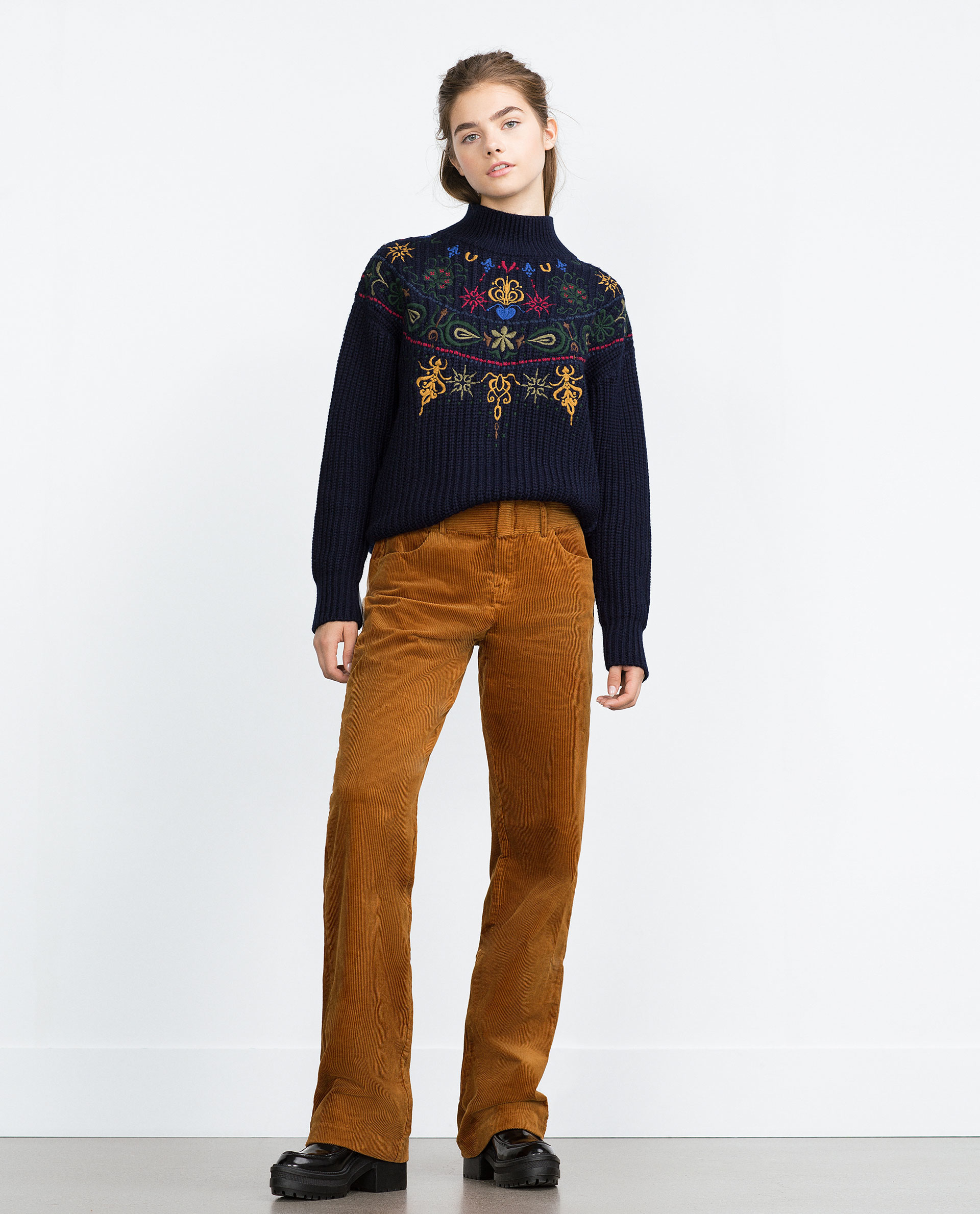 Zara Wide-leg Corduroy Trousers in Brown | Lyst