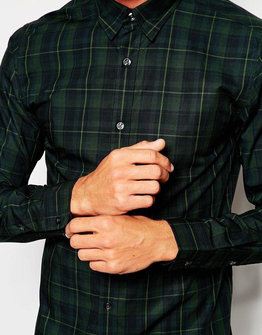 Lyst - Selected Formal Tartan Shirt In Slim Fit - Green in Blue ...